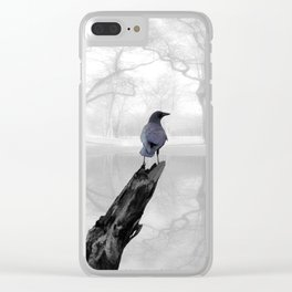 Crow On Misty Pond A114 Clear iPhone Case