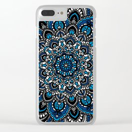 Blue and White Mandala Clear iPhone Case