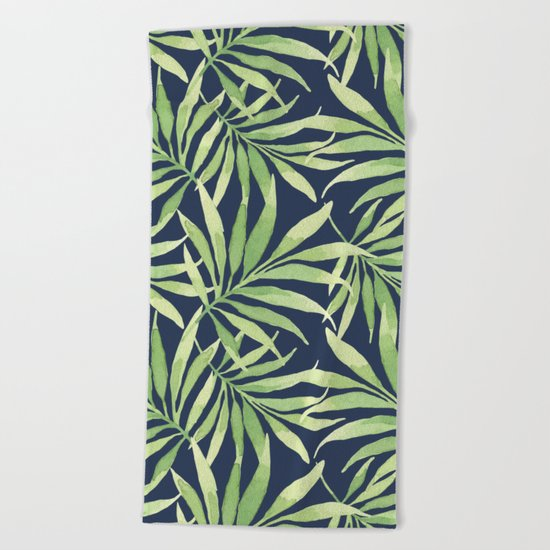 Tropical Branches on Dark Pattern 10 Beach Towel