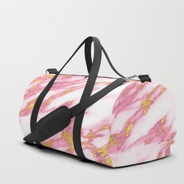 Pink Marble with Gold Duffle Bag