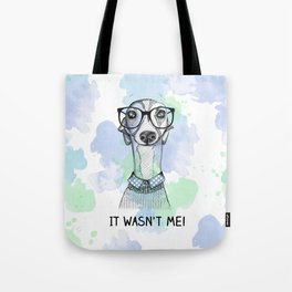 Greyhound with glasses Tote Bag