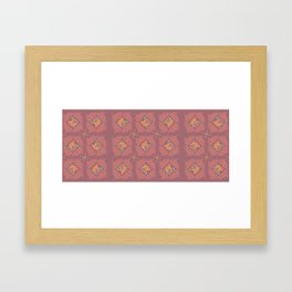 Wheat Check in Mallow Framed Art Print