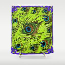 PURPLE ART NOUVEAU GREEN PEACOCK FEATHERS ABSTRACT ART Shower Curtain