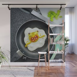 The murder of the fried egg Wall Mural