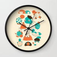 turtles Wall Clocks featuring Turtles by Jay Fleck