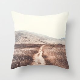 Sandy Path through Coastal Hills Throw Pillow