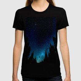 Black Trees Turquoise Milky Way Stars T-shirt