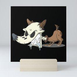 Halloween zombie dog skull Mini Art Print