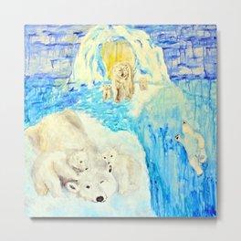 Polar Bears Trying to Survive Metal Print