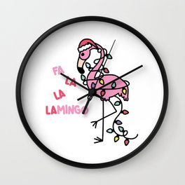 Christmas Flamingo Wall Clock