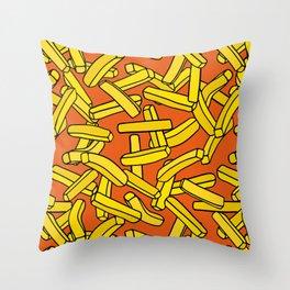 French Fries on Orange Throw Pillow