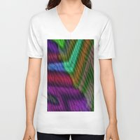 knit V-neck T-shirts featuring Knit by RingWaveArt