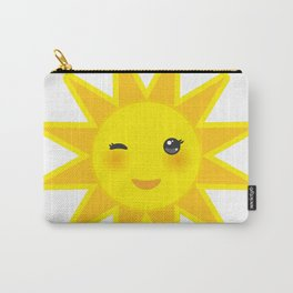 funny cartoon yellow sun smiling and winking eyes and pink cheeks, sun on white background Carry-All Pouch