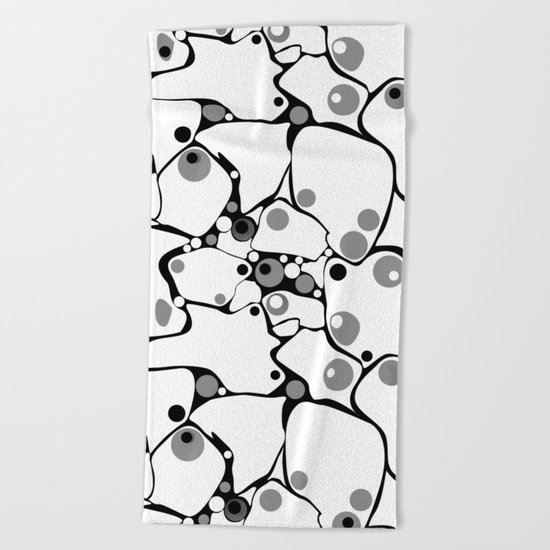 Abstract black and white polka dot pattern 2 .White background . Beach Towel