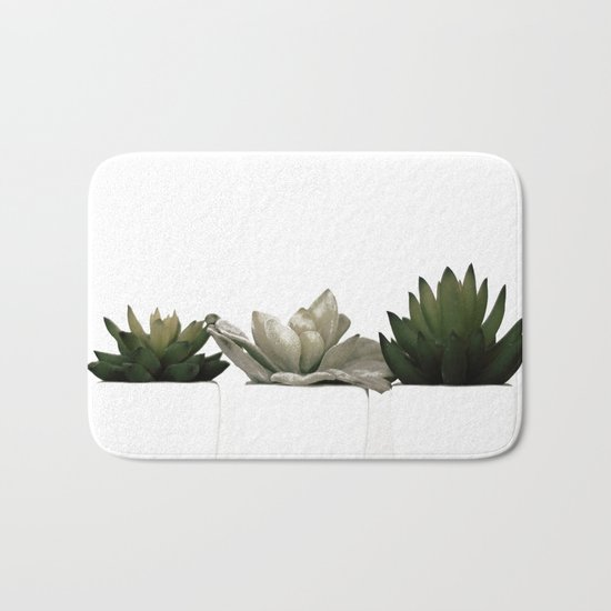 Lovely green cactus - cacti in white pots on a white background Bath Mat
