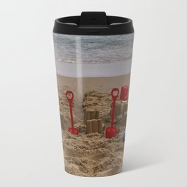 sandcastles, boards, buckets and spades at the beach Travel Mug