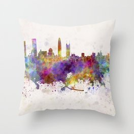 Shenzhen skyline in watercolor background Throw Pillow