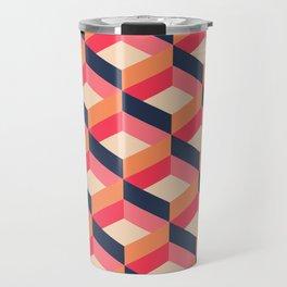 Retro Geo - Navy & Pink Travel Mug