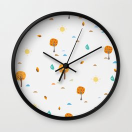 Scattered Trees. Tree landscape seamless background Wall Clock