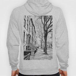 Cobble Hill Brooklyn Winter Black and White Brownstone Hoody