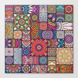 Boho Patchwork Quilt Pattern 2 Canvas Print