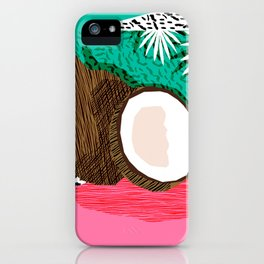 Bada Bing - memphis throwback tropical coconuts food vegan nature abstract illo neon 1980s 80s style iPhone Case