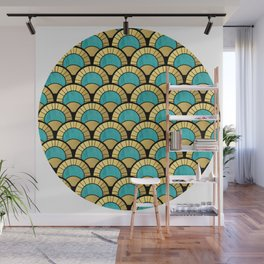 Duck Egg Green Art Deco Fan Pattern Wall Mural