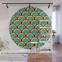 Duck Egg Green Art Deco Fan Pattern Wall Mural