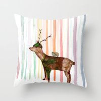 forrest Throw Pillows featuring Rainbow forrest by katieWalkerDesigns