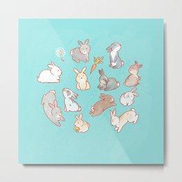 Cute bunny pattern light blue Metal Print