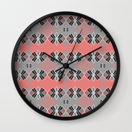 Art Deco Coral Geometric Pop Print Wall Clock