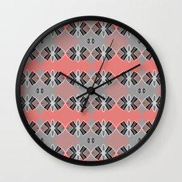 Art Deco Coral Geometric Pop Print Wall Clock