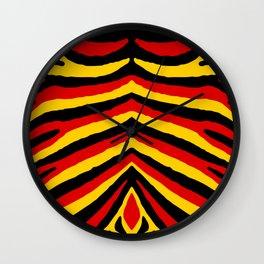 Yellow Red and Black German Zebra Jungle Stripes Wall Clock