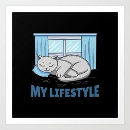 My lifestyle sleeping cat on a pillow sleepyhead Art Print