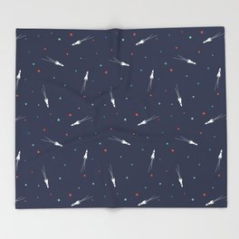 Rocket Ship Pattern Throw Blanket