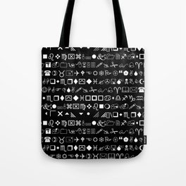 Wingdings Symbols Black Background White Font Tote Bag