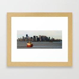 New York City (Manhattan) - Approaching Boat Framed Art Print