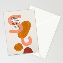 'Alphabet' Earth Tones Neural Warm Colors Fun Space Shapes Yellow Ochre Tan Brown by Ejaaz Haniff Stationery Cards