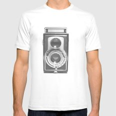 Vintage Camera MEDIUM White Mens Fitted Tee
