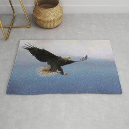 Snowy Flight - Bald Eagle Rug