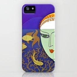 "Art Deco Illustration ""Goldfish Bowl"" iPhone Case"