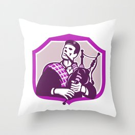 Scotsman Playing Bagpipes Shield Retro Throw Pillow
