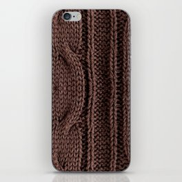 Brown braid jersey cloth texture abstract iPhone Skin