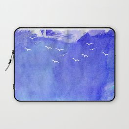 Blue Watercolor Beach Laptop Sleeve