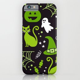Halloween party illustrations green, black iPhone Case