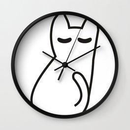 Minimalistic resting cat drawing lineart Wall Clock