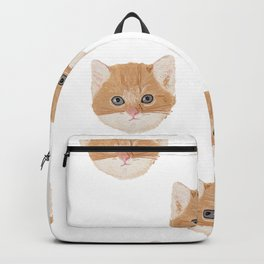 Cute Yellow Cat Head Pattern Backpack