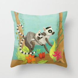 Babies on Backs Throw Pillow