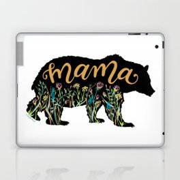 Mama Bear with Pretty Wildflowers Hand Lettering Illustration Laptop & iPad Skin