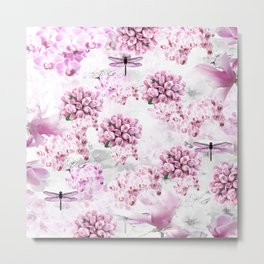 ORCHIDS ROSES MAGNOLIAS and Dragonflies Metal Print